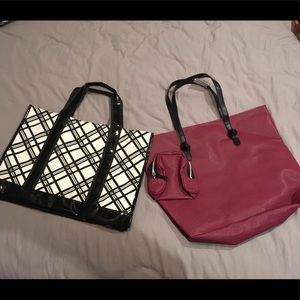 Handbags - 2 Brand New Bags- Black & White and Cranberry